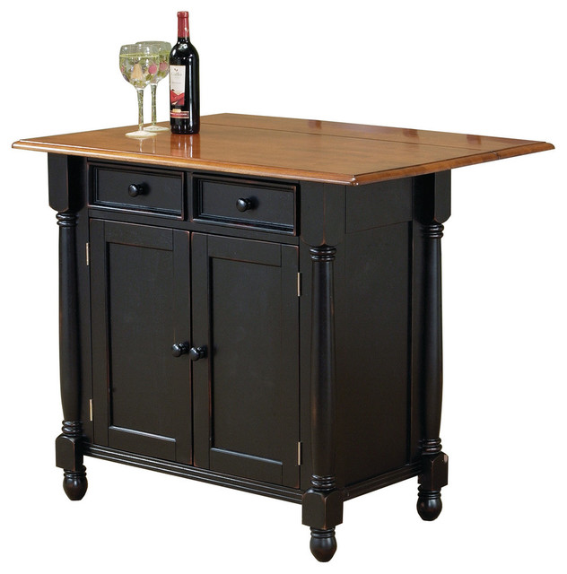 Sunset Trading Antique Style Black Kitchen Island With Leaf.