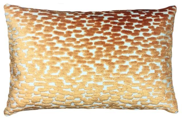 Modern Decorative Lumbar Pillows : Orange Raised Velvet Lumbar Pillow Cover - Contemporary - Decorative Pillows - by Pillows by ...
