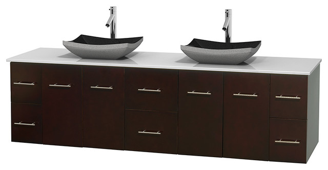 Modern Vanity No Top : Centra quot espresso double vanity white stone top no