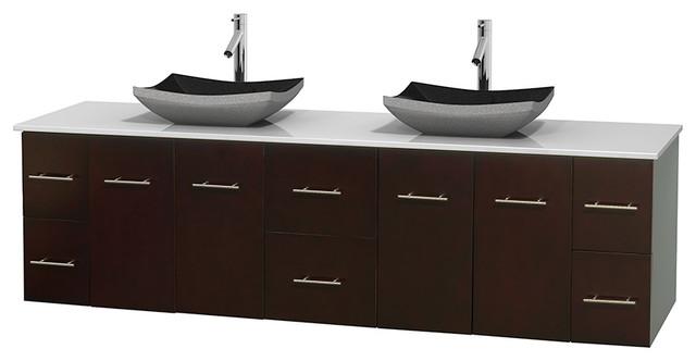 Centra 80 espresso double vanity white stone top no mirror modern bathroom vanities and for 80 bathroom vanities without tops