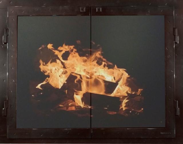 "Iron Fireplace Glass Door, Gate Mesh, 2 1/2"" Frame, Black Copper, 50""x30"""