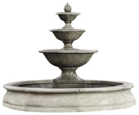 Monteros In Basin Outdoor Garden Fountains Traditional Outdoor Fountains And Ponds By