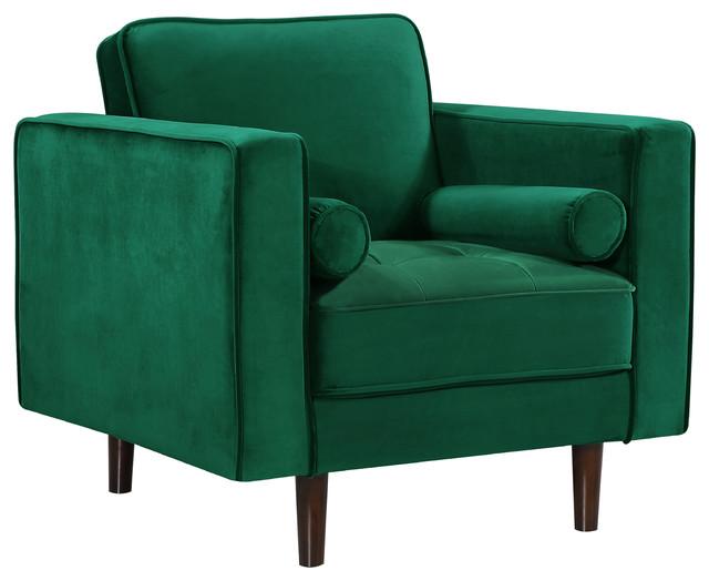 Noelle Velvet Accent Chair, Green.