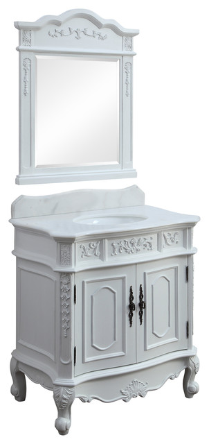 33 Benton Benson White Antique Vanity, With Backsplash And Mirror.