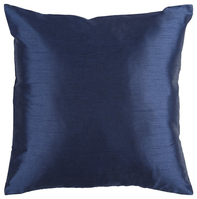"Solid Luxe By Surya Down Fill Pillow, Navy, 18""x18"", Hh032-1818d."