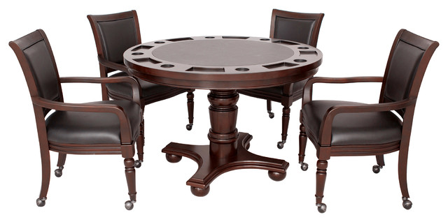 Hathaway Bridgeport 2 In 1 Poker Game Table Set, Walnut Finish Traditional
