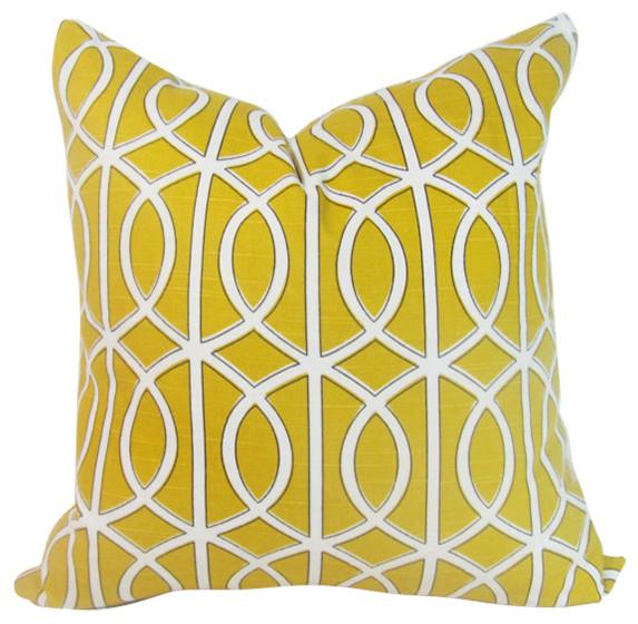 Modern Yellow Decorative Pillows : Anyarwot Designs - Yellow Lattice Pillow Cover & Reviews Houzz