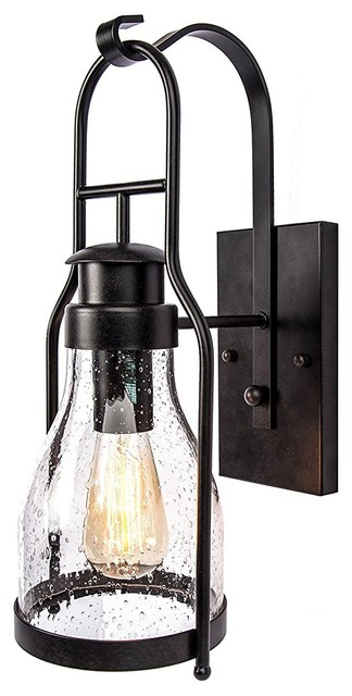 Bay cody rustic wall sconce lantern with pioneer bubble glass rubbed bronze wall