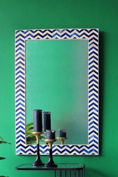 Turquoise Wall Mirror chevron indigo bone wall mirror