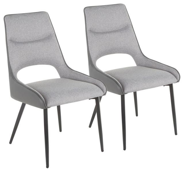 Mickey Chair, Set of 2, Black Metal, Dark Grey Fabric