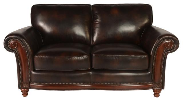Lazzaro Leather Century Loveseat, Dark Brown.