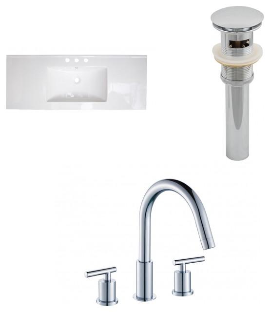 Ceramic Top Set, White, 8 O.c. Cupc Faucet And Drain, 48x18.