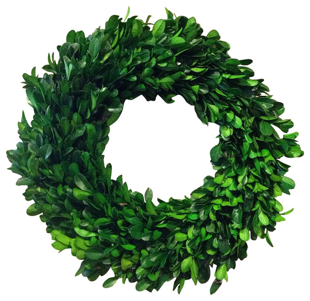 "New Preserved Boxwood Leaves Wreath Green, 11""."