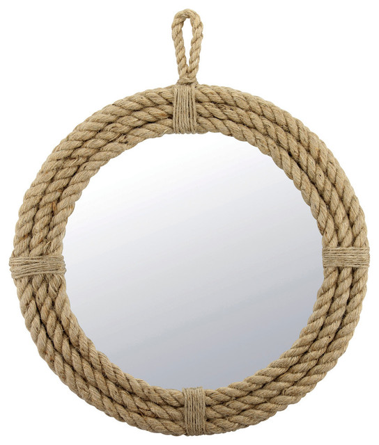 Hanging Rope Wrapped Round Mirror.