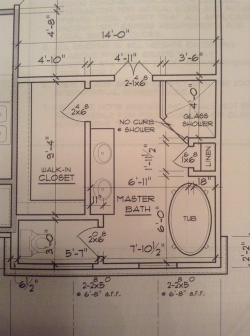 Master bath layout for 8 x 12 room design