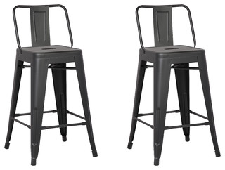 Metal Bar Stools With Back, Matte Black, Set Of 2   Industrial   Bar Stools  And Counter Stools   By AC Pacific Corporation