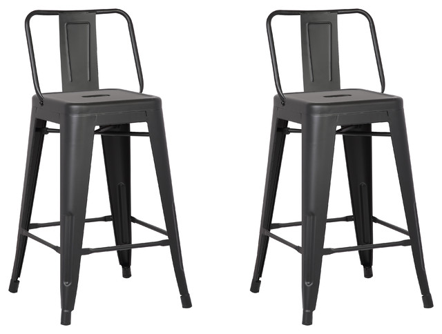 Metal Bar Stools With Back Matte Black Set Of 2 24