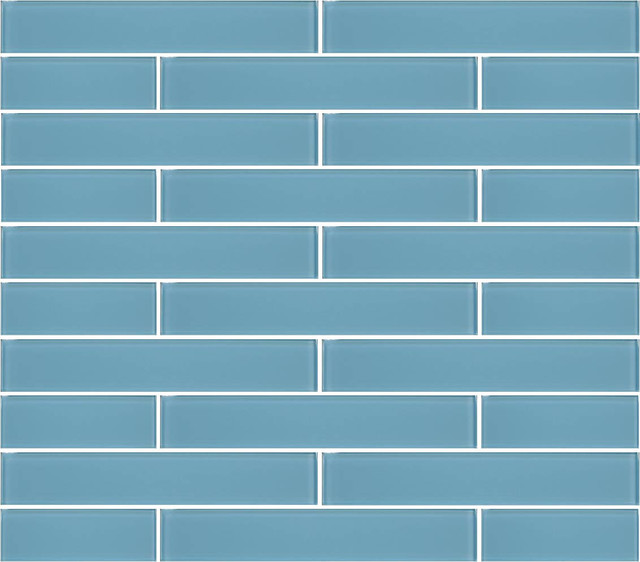 Infinity Blue Gl Subway Tile 2 X12 Tiles Set Of 6 Contemporary