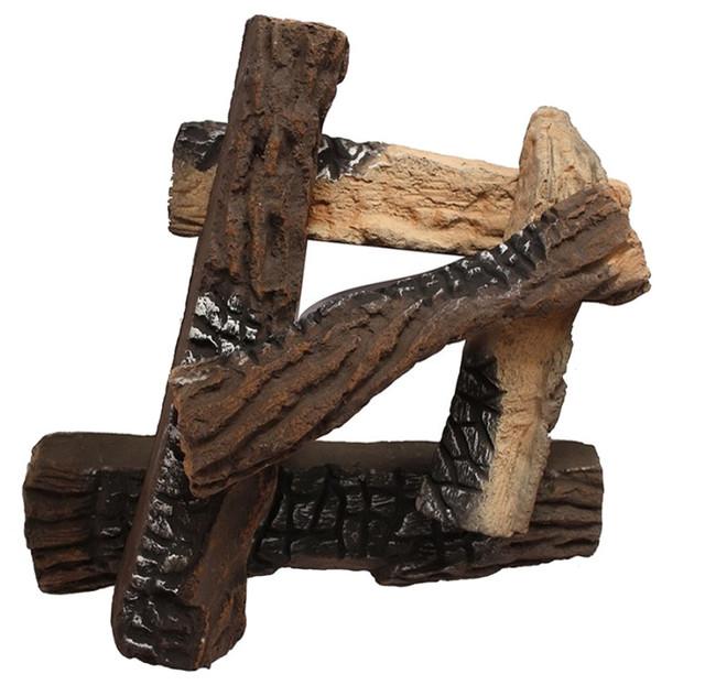 Moda Flame Ceramic Wood Fireplace Logs Set of 5 Rustic