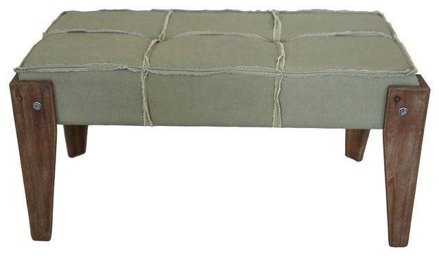Rustic Elegance Rectangular Tuffed Fabric Bench,sage Fringe Fabric. -1