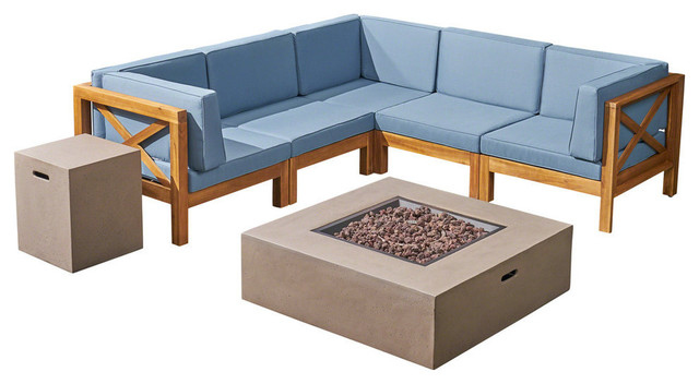 Milo Outdoor Acacia Wood 5 Seater Sectional Sofa Set with Fire Pit