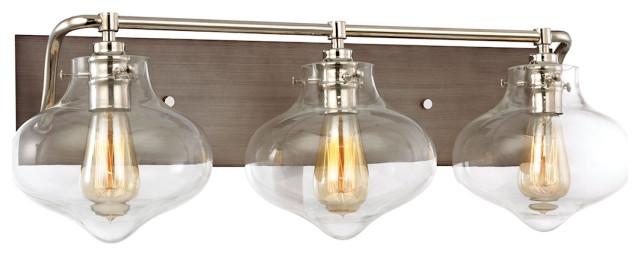 ELK Lighting Kelsey 3 Light Vanity In Weathered Zinc Polished Nickel Accents