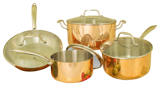 8piece 3ply copper cookware set with glass lids - Copper Cookware Set