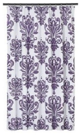 Extra Long Shower Curtain 72x 78 Gamma Purple And White Baroque Fabric