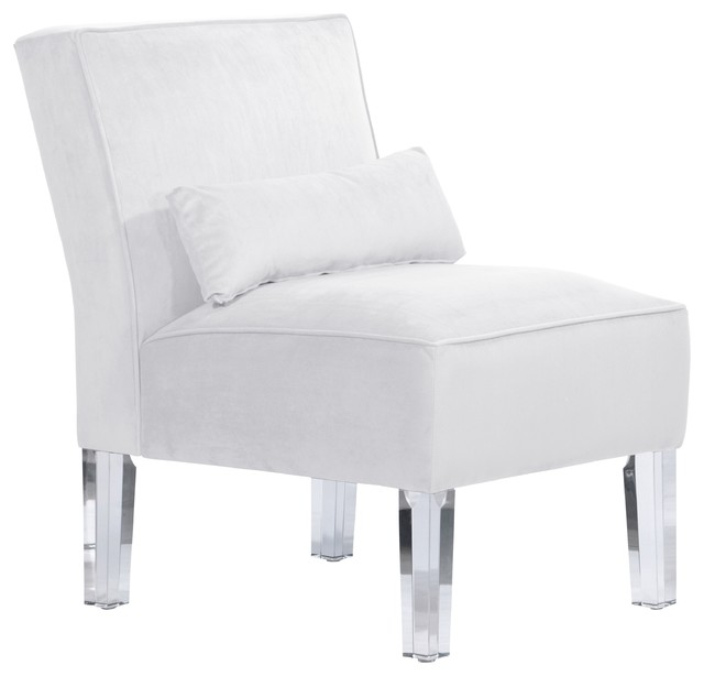 Armless Chair Velvet White Contemporary Armchairs And