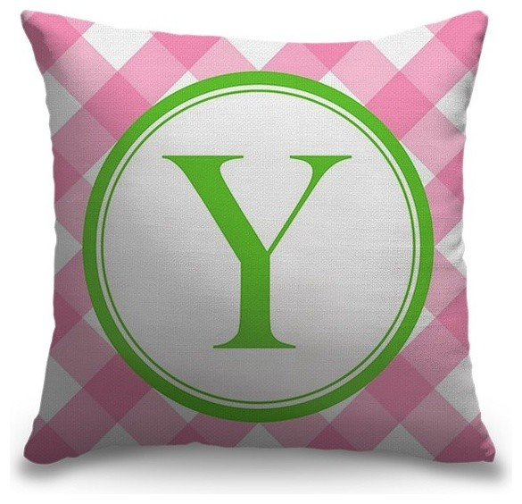 """Letter Y - Circle Plaid"" Outdoor Pillow 16""x16"""