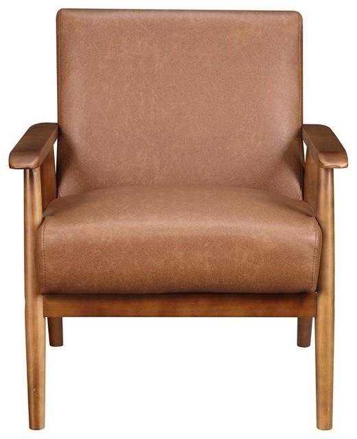 Wood Frame Faux Leather Accent Chair, Lummus Cognac by HomeFare