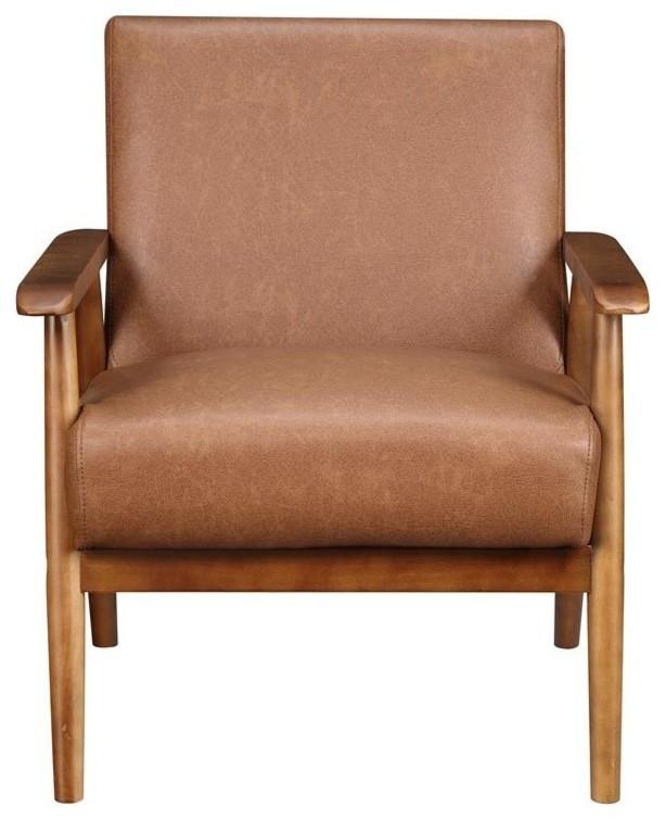 Merveilleux Wood Frame Faux Leather Accent Chair, Lummus Cognac