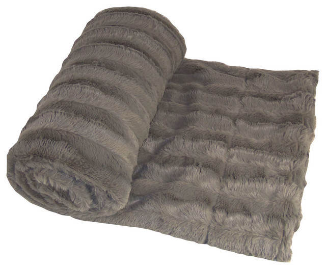 Derby Double Sided Faux Fur Throw Blanket, Charcoal