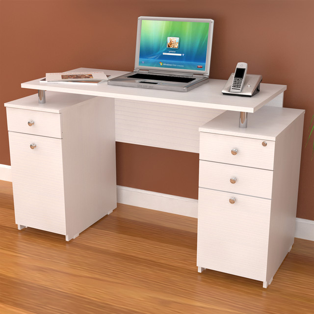 office desk with locking drawers inval white modern computer writing desk with 23917
