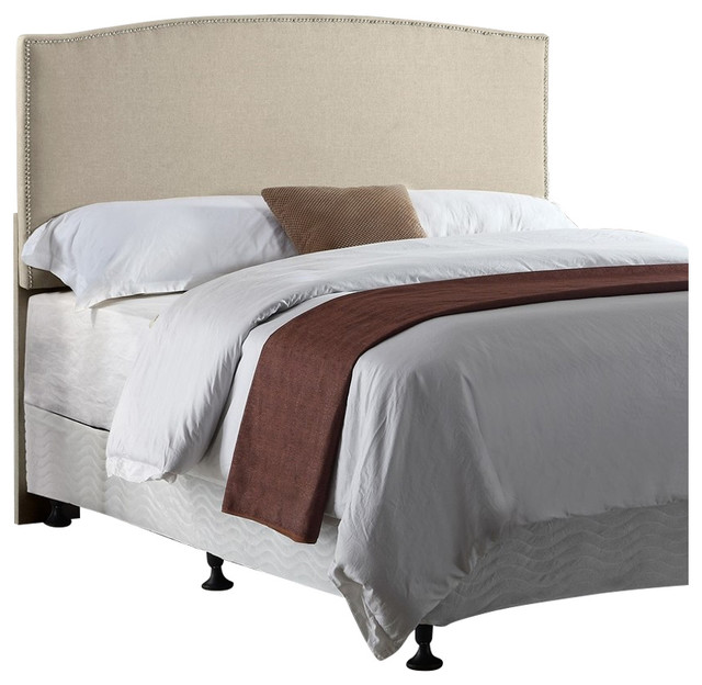 Upholstered Panel Headboard, Beige by us pride furniture corp