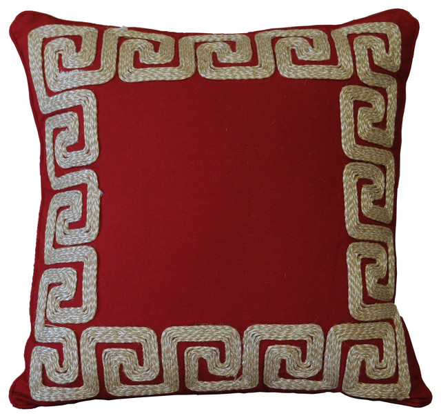 Am Home Red Greek Key Border Pillow