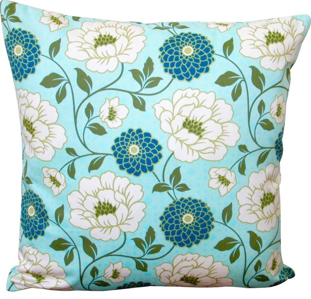 Modern Floral Throw Pillows : Artisan Pillows Indoor Bungalow Dahlia In Forest Blue Modern Floral Accent 20x20 Throw Pillow ...