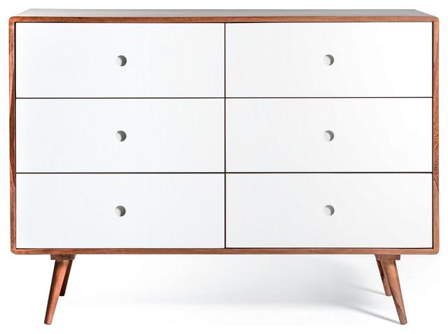 Ingrid Mid Century Modern Dresser With 6 Drawers White Midcentury