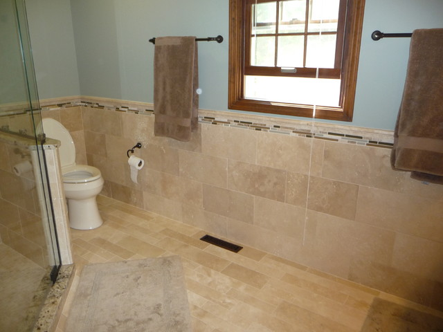 Travertine Tile Modern Bathroom