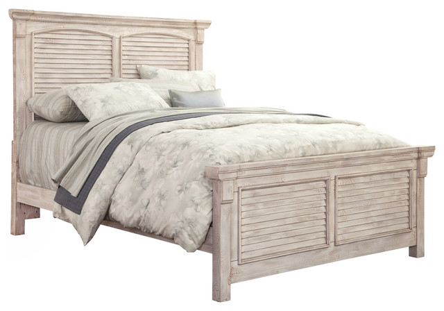 Wondrous American Woodcrafters Cottage Traditions King Square Panel Bed Crackled White Best Image Libraries Counlowcountryjoecom