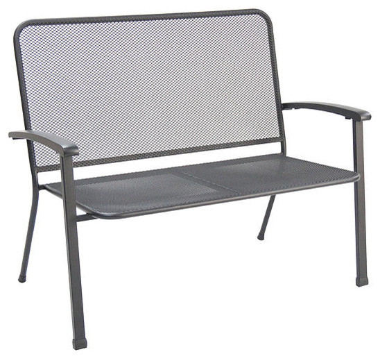 Innsbruck Steel Mesh Loveseat Bench Black Set Of 4 Contemporary Outdoor Benches By