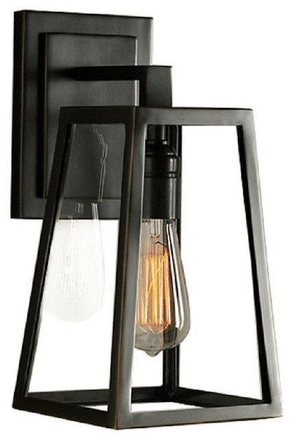 Glass Box Iron Golden Triangle Rural Outdoor Indoor Balcony Wall Lamp.