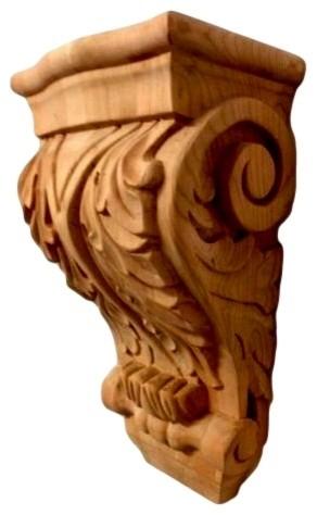 """14"""" Hand Carved Acanthus Leaf Design Cherry Wood Corbel Bracket."""
