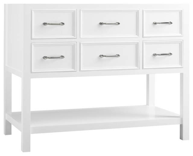 "Ronbow Newcastle Solid Wood 42"" Vanity Cabinet Base, White"