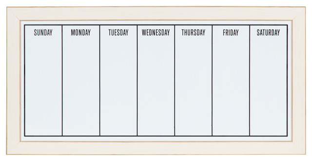 Designovation Wyeth Framed Magnetic Dry Erase Weekly Calendar, White.