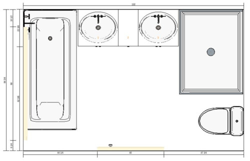 Need help evaluating different bathroom layouts for 7 x 10 master bathroom layout