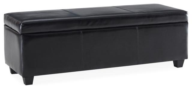 48 Elegant Leather Linen Rectangular, Black Leather Ottoman With Storage