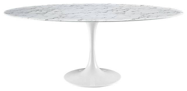 "Modway Lippa 78"" Oval Artificial Marble Dining Table, White"
