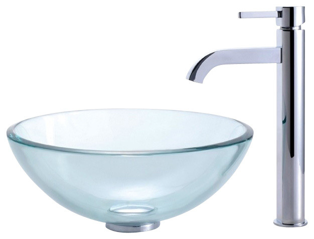 Clear 14 In. Glass Vessel Sink & Ramus Faucet, Chrome.