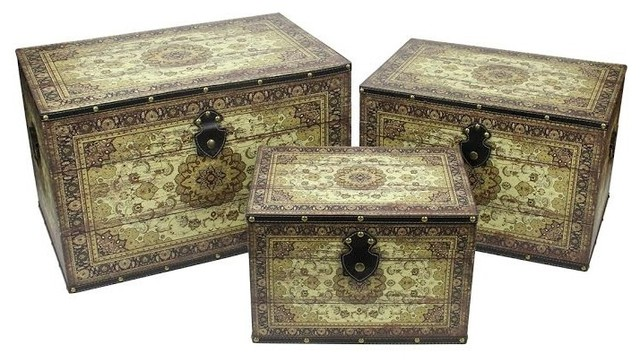 oriental style earth tone decorative storage boxes set of 3 22 asian - Decorative Boxes